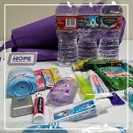 bag of toiletries and snacks